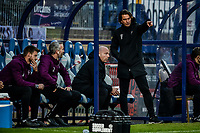 21st November 2020; Adams Park Stadium, Wycombe, Buckinghamshire, England; English Football League Championship Football, Wycombe Wanderers versus Brentford; Brentford manager Thomas Frank gets animated on sideline