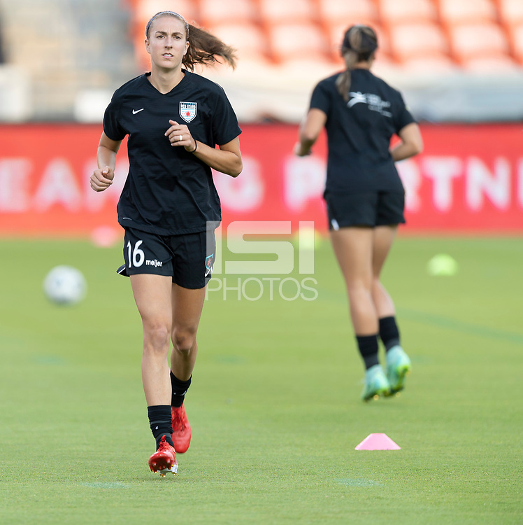 HOUSTON, TX - SEPTEMBER 10: Sarah Woldmoe #16 of the Chicago Red Stars warming up before a game between Chicago Red Stars and Houston Dash at BBVA Stadium on September 10, 2021 in Houston, Texas.