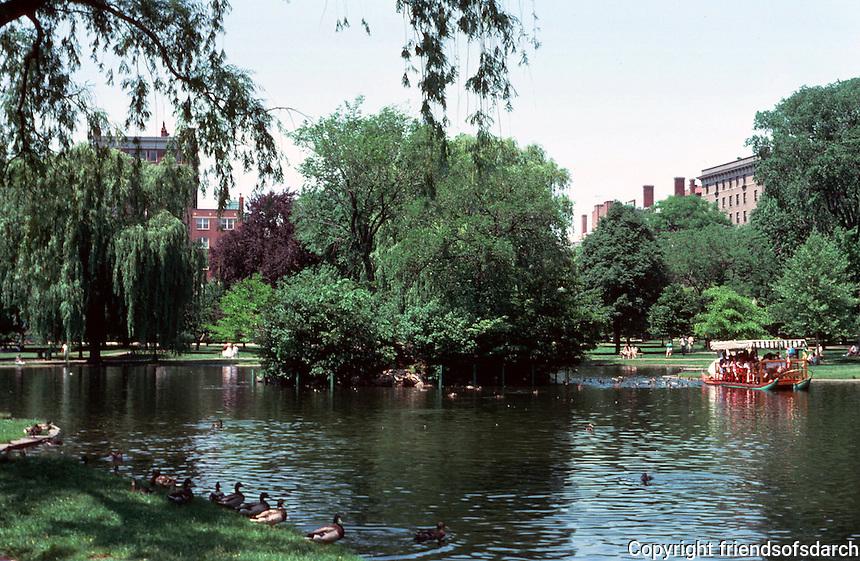 Boston:  Public Garden-- Swan Boats.  Photo '88.