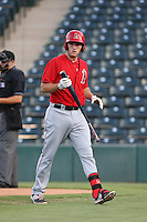 Dalton Blumenfeld (9) of the AZL Angels returns to the dugout after batting during a game against the AZL Giants at Tempe Diablo Stadium on July 6, 2015 in Tempe, Arizona. Angels defeated the Giants, 3-1. (Larry Goren/Four Seam Images)
