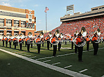 Oklahoma State Cowboys marching band in action during the game between the Louisiana-Lafayette Ragin Cajuns and the Oklahoma State Cowboys at the Boone Pickens Stadium in Stillwater, OK. Oklahoma State defeats Louisiana-Lafayette 61 to 34.