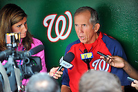 5 September 2011: Washington Nationals Manager Davey Johnson chats with the media prior to a game against the Los Angeles Dodgers at Nationals Park in Los Angeles, District of Columbia. The Nationals defeated the Dodgers 7-2 in the first game of their 4-game series. Mandatory Credit: Ed Wolfstein Photo