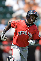 Second baseman Jamodrick McGruder #2 of the Texas Tech Red Raiders sprints to first base against the Texas Longhorns on April 17, 2011 at UFCU Disch-Falk Field in Austin, Texas. (Photo by Andrew Woolley / Four Seam Images)