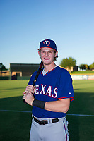 AZL Rangers Sam Huff (12) poses for a photo prior to a game against the AZL Giants on August 22 at Scottsdale Stadium in Scottsdale, Arizona. AZL Rangers defeated the AZL Giants 7-5. (Zachary Lucy/Four Seam Images)