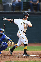 Bristol Pirates Aaron Shackelford (13) bats during the game with the Burlington Royals at Boyce Cox Field on June 19, 2019 in Bristol, Virginia. The Royals defeated the Pirates 1-0. (Tracy Proffitt/Four Seam Images)