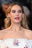 "Lily James<br /> arriving for the world premiere of ""The Guernsey Literary and Potato Peel Pie Society"" at the Curzon Mayfair, London<br /> <br /> ©Ash Knotek  D3394  09/04/2018"