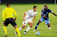 """CARSON, CA - OCTOBER 18: Javier """"Chicharito"""" Hernandez #14 of the Los Angeles Galaxy moves with the ball during a game between Vancouver Whitecaps and Los Angeles Galaxy at Dignity Heath Sports Park on October 18, 2020 in Carson, California."""