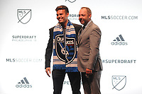 Philadelphia, PA - Thursday January 19, 2018: Danny Musovski, J. Todd Durbin during the 2018 MLS SuperDraft at the Pennsylvania Convention Center.