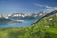 Aerial of Barry Arm, Mount Muir and Mount Gilbert of the Chugach mountains, Prince William Sound, Alaska