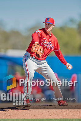 6 March 2019: Philadelphia Phillies pitcher Tom Windle on the mound during a Spring Training game against the Toronto Blue Jays at Dunedin Stadium in Dunedin, Florida. The Blue Jays defeated the Phillies 9-7 in Grapefruit League play. Mandatory Credit: Ed Wolfstein Photo *** RAW (NEF) Image File Available ***