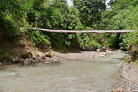 Log bridge over the Meleotigi River, near the village of Eraulo in the Ermera District of Timor-Leste (East Timor).