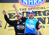 Mar. 11, 2012; Gainesville, FL, USA; NHRA top fuel dragster driver T.J. Zizzo (right) with Shawn Langdon during the Gatornationals at Auto Plus Raceway at Gainesville. Mandatory Credit: Mark J. Rebilas-