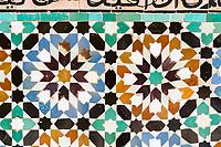 Marrakesh, Morocco.  Moroccan Zellij, Mosaic Tile  Decoration, Medersa Ben Youssef, 16th. Century.