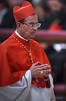 Cardinal Gregorio Rosa Chavez from Salvador;Pope Francis leads a consistory for the creation of five new cardinals  at St Peter's basilica in Vatican.  from countries  : El Salvador, Laos, Mali,Sweden and Spain.<br /> Cardinal Gregorio Rosa Chavez from Salvador;Cardinal Louis-Marie Ling Mangkhanekhoun from Laos;Cardinal Anders Arborelius from Sweden;Cardinal Jean Zerbo from Mali;Cardinal Juan José Omella of Spainon June 28, 2017