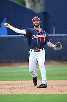 Taylor Bryant #1 of the Cal State Fullerton Titans makes a throw to first base during a game against the Stanford Cardinal at Goodwin Field on February 19, 2017 in Fullerton, California. Stanford defeated Cal State Fullerton, 8-7. (Larry Goren/Four Seam Images)