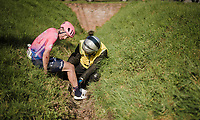 Sep Vanmarcke (BEL/EF Education First) crashes in a deep ditch<br /> <br /> 62nd E3 BinckBank Classic (Harelbeke) 2019 <br /> One day race (1.UWT) from Harelbeke to Harelbeke (204km)<br /> <br /> ©kramon