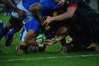 Samoa's Michael Alaalatoa scores a disallowed try during the international rugby match between Manu Samoa and the Maori All Blacks at Sky Stadium in Wellington, New Zealand on Saturday, 26 June 2021. Photo: Dave Lintott / lintottphoto.co.nz