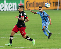 WASHINGTON, DC - SEPTEMBER 06: Maximiliano Moralez #10 of New York City FC passes the ball during a game between New York City FC and D.C. United at Audi Field on September 06, 2020 in Washington, DC.