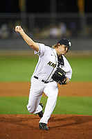 UCF Knights relief pitcher Eric Hepple (43) delivers a pitch during a game against the Siena Saints on February 17, 2017 at UCF Baseball Complex in Orlando, Florida.  UCF defeated Siena 17-6.  (Mike Janes/Four Seam Images)
