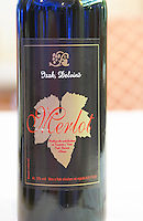 Bottle of Isak Delvine Merlot. Label detail. Tirana capital. Albania, Balkan, Europe.