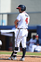 Beau Philip (4) of the Danville Braves during a game against the Bluefield Blue Jays at American Legion Post 325 Field on July 28, 2019 in Danville, Virginia. The Blue Jays defeated the Braves 9-7. (Tracy Proffitt/Four Seam Images)