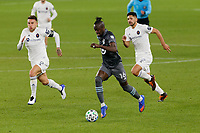 ST PAUL, MN - NOVEMBER 4: Kei Kamara #16 of Minnesota United FC passes the ball during a game between Chicago Fire and Minnesota United FC at Allianz Field on November 4, 2020 in St Paul, Minnesota.
