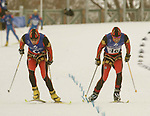 brothers robin (guide) and brian mckeever race toward the finisg line where they will finish 6 overall in the 7.5 km. biathlon today at soldier hollow venue