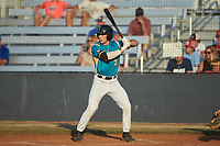 Davis Turner (21) (Lenoir Rhyne) of the Mooresville Spinners at bat against the Dry Pond Blue Sox at Moor Park on July 2, 2020 in Mooresville, NC.  The Spinners defeated the Blue Sox 9-4. (Brian Westerholt/Four Seam Images)