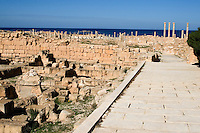 Sabratha, Libya, North Africa - Roman ruins, reconstructed 1920s.  Byzantine wall, built 6th. century to defend against Berber attack.