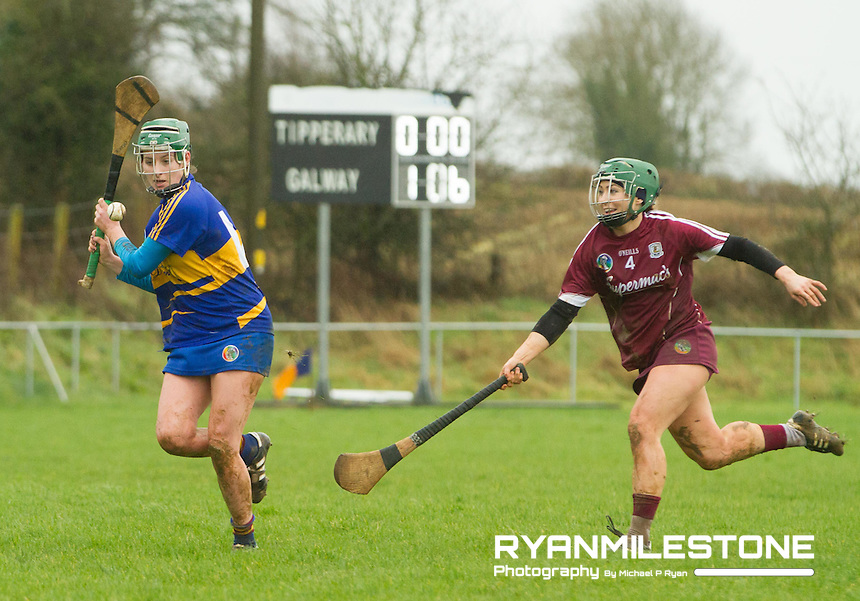 Irish Daily Star Camogie League Division One<br /> Tipperary v Galway<br /> Caoimhe Maher (Tipperary) Heather Cooney (Galway)