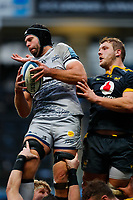 27th March 2021; Ricoh Arena, Coventry, West Midlands, England; English Premiership Rugby, Wasps versus Sale Sharks; Josh Beaumont of Sale Sharks wins the ball at a line out from Joe Launchbury of Wasps