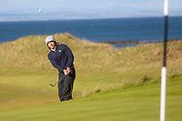 1st October 2021; Kingsbarns Golf Links, Fife, Scotland; European Tour, Alfred Dunhill Links Championship, Second round; Maverick Antcliff of Australia chips to the seventh green at Kingsbarns Golf Links
