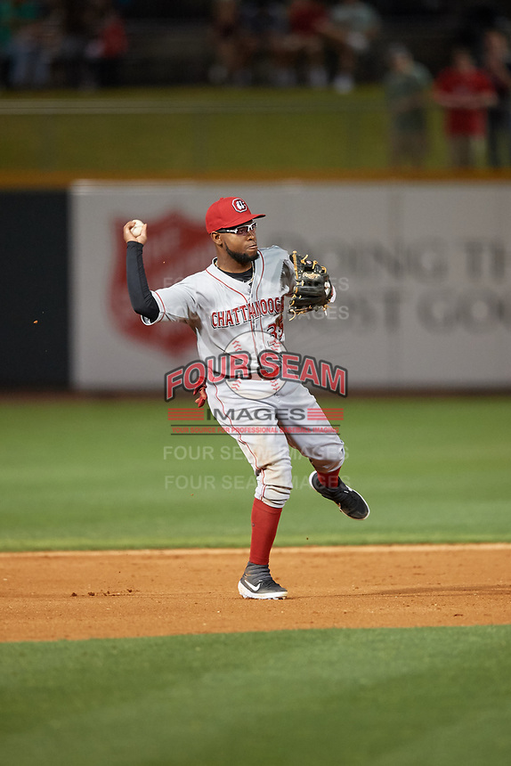 Chattanooga Lookouts shortstop Alfredo Rodriguez (35) throws to first base during a Southern League game against the Birmingham Barons on May 2, 2019 at Regions Field in Birmingham, Alabama.  Birmingham defeated Chattanooga 4-2.  (Mike Janes/Four Seam Images)