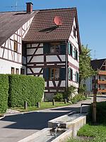 Fachwerkhäuser in Gaienhofen am Bodensee, Baden-Württemberg, Deutschland, Europa<br /> halftimerd house in Gaienhofen at lake Constance, Baden-Württemberg, Germany, Europe