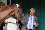 May 17, 2014. California Chrome meets up with his trainer, Art Sherman, in the Stakes barn after winning the 139th Preakness Stakes at Pimlico Race Course in Baltimore, MD. ©Joan Fairman Kanes/ESW/CSM