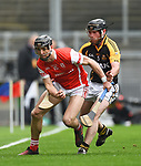 Mark Schutte of Cuala in action against Gearoid O Connell of Ballyea during the All-Ireland Club Hurling Final at Croke Park. Photograph by John Kelly.