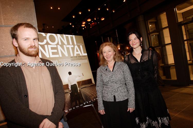 Montreal (Qc) CANADA, November 6, 2007-<br /> Stephane Lafleur, director,<br /> Marie-Ginette Guay, actress,<br /> Fanny Mallette, actress,<br /> <br /> Continental - Un film sans fusil at Ex-Centris<br /> photo (c) Pierre Roussel -  Images Distribution