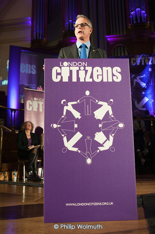 London Mayoral candidate Brian Paddick.  London Citizens Mayoral Accountability Assembly, Central Hall, Westminster.