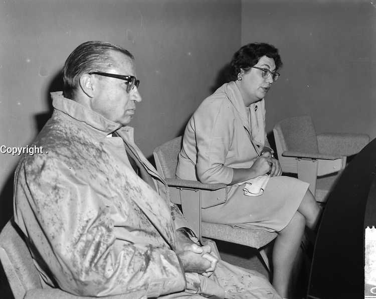 Mrs. Judy La March, Canadian Minister of Social Affairs pays working visit to the Netherlands, On the left the Candian ambassador to Holland H. E. Wn. Frederik Bull.<br /> <br /> Date August 20, 1963<br /> <br /> Photographer Bilsen, Joop from / Anefo