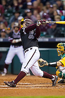 Texas A&M Aggies third baseman Hunter Melton (50) swings the bat during the Houston College Classic against the Baylor Bears on March 8, 2015 at Minute Maid Park in Houston, Texas. Texas A&M defeated Baylor 3-2. (Andrew Woolley/Four Seam Images)