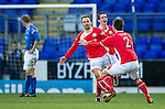 St Johnstone v Brechin...07.01.12  Scottish Cup Round 4.Paul McManus celebrates his goal.Picture by Graeme Hart..Copyright Perthshire Picture Agency.Tel: 01738 623350  Mobile: 07990 594431