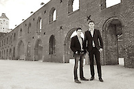 Environmental portrait of two business partners of a tech startup photographed in DUMBO, Brooklyn.