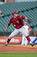 Boston College Eagles starting pitcher Jacob Stevens (44) delivers a pitch to the plate against the North Carolina State Wolfpack in Game Two of the 2017 ACC Baseball Championship at Louisville Slugger Field on May 23, 2017 in Louisville, Kentucky.  The Wolfpack defeated the Eagles 6-1. (Brian Westerholt/Four Seam Images)