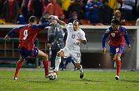 Landon Donovan battles for the ball during a 2-2 tie with Costa Rica to put the USA in first place of CONCACAF 2010 World Cup qualifying, at RFK Stadium, in Washington DC, Wednesday, October 14, 2009.