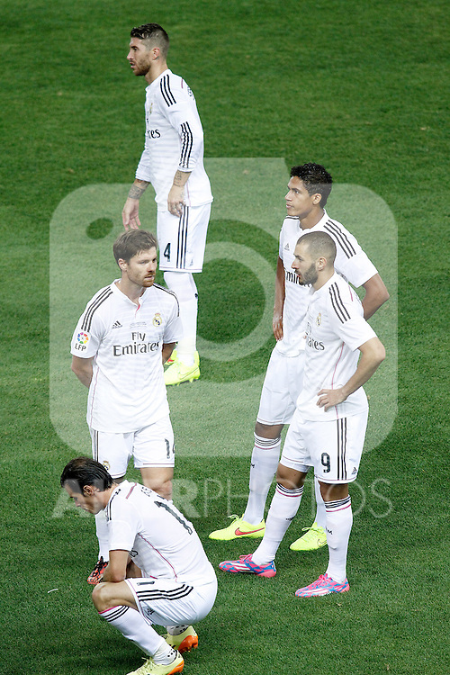Real Madrid's Sergio Ramos, Raphael Varane, Xabi Alonso, Karim Benzema and Garet Bale dejected after Supercup of Spain 2nd match.August 19,2014. (ALTERPHOTOS/Acero)