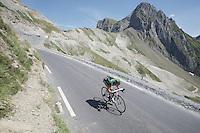 Thomas Voeckler (FRA/Europcar) descending the Col du Tourmalet (HC/2115m/17km/7.3%)<br /> <br /> st11: Pau - Cauterets (188km)<br /> 2015 Tour de France