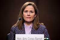 United States Supreme Court nominee Judge Amy Coney Barrett attends her confirmation hearing before the US Senate Judiciary Committee in the Hart Senate Office Building in Washington, DC, USA, 14 October 2020.<br /> CAP/MPI/RS<br /> ©RS/MPI/Capital Pictures