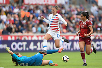 Houston, TX - Sunday April 8, 2018: Cecilia Santiago, Alex Morgan, Annia Mejía during an International friendly match versus the women's National teams of the United States (USA) and Mexico (MEX) at BBVA Compass Stadium.