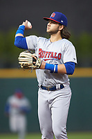 Buffalo Bisons shortstop Bo Bichette (13) tosses a ball to a fan in the stands between innings of the game against the Caballeros de Charlotte at BB&T BallPark on July 23, 2019 in Charlotte, North Carolina. The Bisons defeated the Caballeros 8-1. (Brian Westerholt/Four Seam Images)