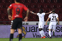 Mbala Nzola of Spezia Calcio celebrates with team mates after scoring a goal<br /> during the Serie A football match between Benevento Calcio and Spezia Calcio at stadio Ciro Vigorito in Benevento (Italy), November 7th, 2020. <br /> Photo Cesare Purini / Insidefoto